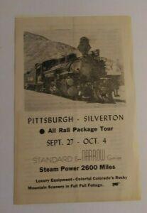 Vintage Railroad Advertisement Brochure Pittsburg Silverton Rail Package Tour