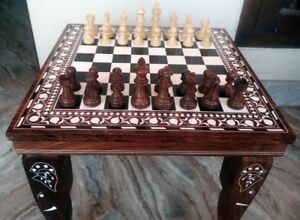 "12"" Square Chess Board Table Home Decor Elephant Inlay Work Rosewood table Gift"