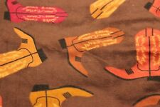"""100% COTTON FLANNEL BY THE YARD---42""""--WESTERN BOOTS ON BROWN"""