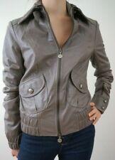 PATRIZIA PEPE Women's Pale Grey Soft Leather Short Biker Jacket I42 UK10