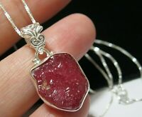 Beautiful Sterling Silver 13.49cts Natural Rock Ruby Gem Stone Pendant Necklace