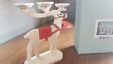 Partylite Alpine Chalet White Reindeer tealight/Candle Holder Christmas, NEW