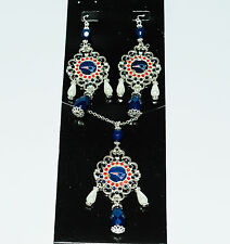 New England Patriots  Baroque Necklace and Earrings Set -  Ships Tomorrow