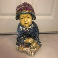 Large Vintage Asian Ester Hunt Style ChalkWare Baby Statue