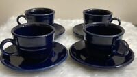 Fiestaware Cobalt Blue 4 Cups and 4 Saucers Sets Fiesta Cups Mug  LOT set
