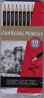 LOT DE 10 x CRAYON FUSAIN CHARBON POUR DESSINS, CROQUIS, ARTS, LOISIRS CREATIFS