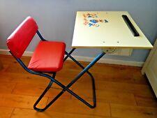 Vintage Retro Child's Folding Chair/Desk Donald Duck Print Blue Enamel Red Seat