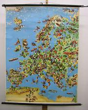 Schulwandbild Picture Card Europakarte Wall Map Horses Cars 91x119 ~ 1955