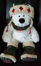 Teddy Bear stuffed animal white fluffy bear  in plaid boots hat and scarf Hugfun