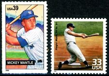 Yankee Sluggers Mickey Mantle & Roger Maris Set 2 MNH Stamps Scott 3188N & 4083