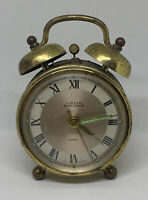 """Vintage Linden Black Forest Brass 4"""" Alarm Clock For Repair or Parts W. Germany"""