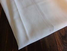"WHITE TABLE CLOTH 86"" x 60"" OVAL Embossed Stripes Vintage"