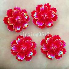Hot DIY 6pcs 25mm AB Resin 3d flower Flatback stone Wedding buttons crafts/red