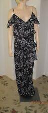 Tahari Arthur S Levine 10 long dressy jumpsuit black w/white paisley print, NWT