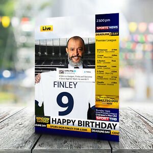 Tottenham Birthday Card - Personalised With Any Name and Age. Spurs