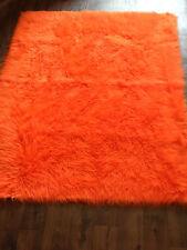 Orange EX - Large Faux Sheepskin Shaggy Mongolian Faux Fur Rug Carpet Mat