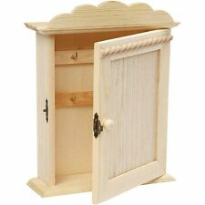 Key Cabinet Box - Plain Wood - Paint Decorate Personalise Home Wall Safe Storage