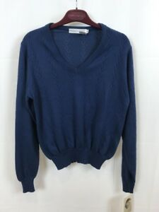 VTG 70's Givenchy Sport Blouse Blue Tie Front Ruffle Acryl Euro Sz 36 Union Made