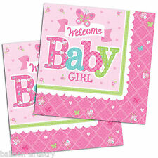 16 PICCOLO ROSA WELCOME Baby Girl Shower party 33 cm Carta LUNCHEON TOVAGLIOLI