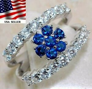 AAA Grade 3CT Blue Sapphire & Topaz 925 Sterling Silver Ring Jewelry Sz 6, UC18