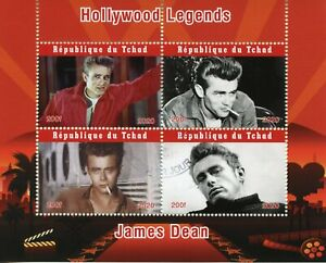 Chad Famous People Stamps 2020 CTO James Dean Hollywood Movies Film Stars 4v M/S