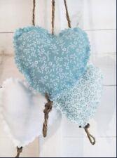 Handmade Shabby Chic Door Hanger Hearts Wedding Nursery Duck Egg Blue White Jute