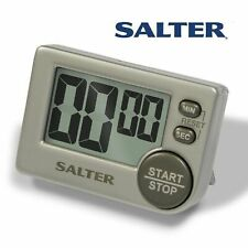Salter Big Button Timer Electronic Digital 397 Large Black Silver Contour