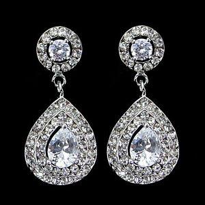 Luxury Twinkling 4cm Long Tear Drop Drip Use Austria Crystal CZ Earrings