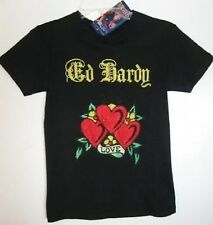 Ed Hardy Girls Black 3-Heart Shirt (M) NWT