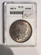 1887 Old Anacs Ms62 Toned Morgan Silver Dollar 90%