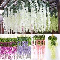 12X Artificial Silk Wisteria Leaf Garden Hanging Flower Ivy Garland Vine Wed