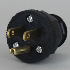 ANTIQUE ~ Vintage Electric Lamp Cord Plug w/ Ground ~ 3 Prong ~ { BLACK }