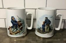 """2 Norman Rockwell Mugs """"Braving The Storm� And """"Looking Out To Sea� 1985 Museum"""