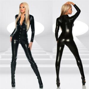 Women's Lingerie PU Leather Wet Look Bodysuit Jumpsuit Catsuit Clubwear Costume