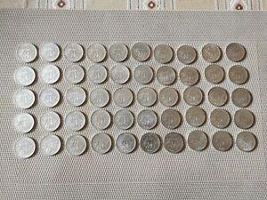 lot de 50 pièces de 5 francs en argent - Semeuse - 1960 à 1965