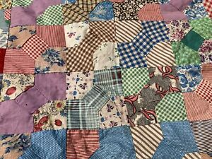 Early 1900s  Hand-pieced Bow Tie Quilt Top Feed sack Fabric