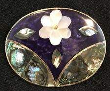 Leaves Pin Brooch Pendant Alpaca Mexico Vintage Inlay Enamel and Abalone Flower