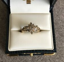 10K Yellow Gold Diamond Cluster Ring~Size 7~