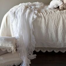 Bella Notte Whisper Linen White Twin Bed Scarf in Excellent Condition