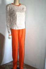 Original 70er Jahre Hausanzug Anzug Schlafanzug Pyama Set 48 Weiß Orange Retro