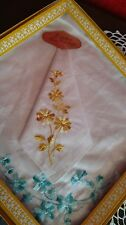 2 Handkerchiefs Hanky Estate VTG Cotton NOS Foil Tag NIB Machine Embroidered Box