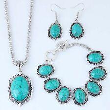 Beautiful Fashion Vintage Turquoise, Bracelet, Pendant, Chain & Earring Set