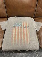 Donald Trump T-Shirt Gray Central Flag Shortsleeve Mens Shirt Tagless XL