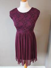 MISS SELFRIDGE Burgundy Berry Red Floaty Dress Lace Panel Ribbon Tie Size 10 VGC