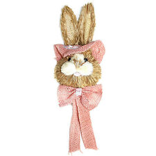 Thatched Rustic Hessian Shabby Chic Pink Easter Bunny Hanging Decoration