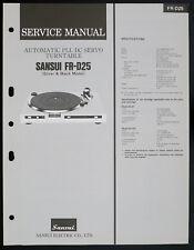 SANSUI fr-d25 Original Automatic PLL DC Servo Turntable service manual o153