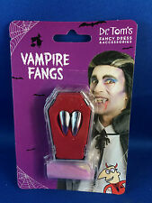 fake teeth vampire fangs silver fangs with putty halloween  mini coffin storage