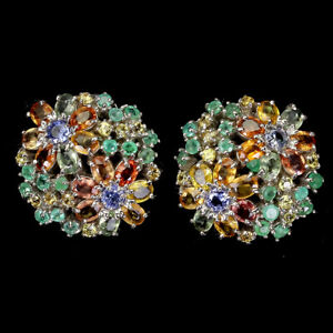 Oval Multi-Color Sapphire 4x3mm Emerald Tanzanite 925 Sterling Silver Earrings