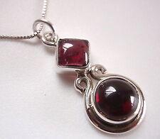 Garnet Round and Square 925 Sterling Silver Pendant Corona Sun Jewelry