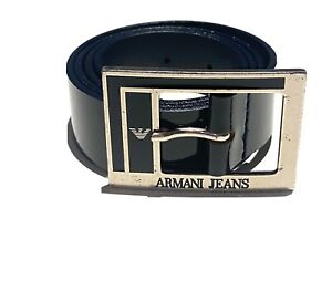 ARMANI JEANS Made in Italy Black Patent Leather Silver Metal Buckle Belt